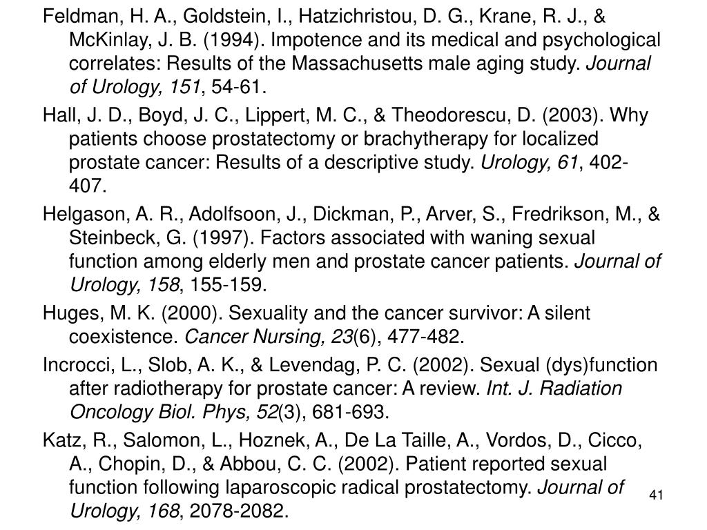 Feldman, H. A., Goldstein, I., Hatzichristou, D. G., Krane, R. J., & McKinlay, J. B. (1994). Impotence and its medical and psychological correlates: Results of the Massachusetts male aging study.