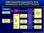 bmd should be assessed to treat osteoporosis and prevent fractures