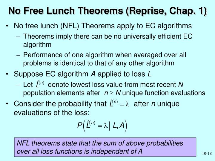 No Free Lunch Theorems (Reprise, Chap. 1)