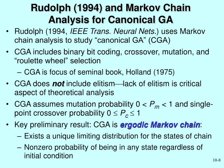 Rudolph (1994) and Markov Chain Analysis for Canonical GA