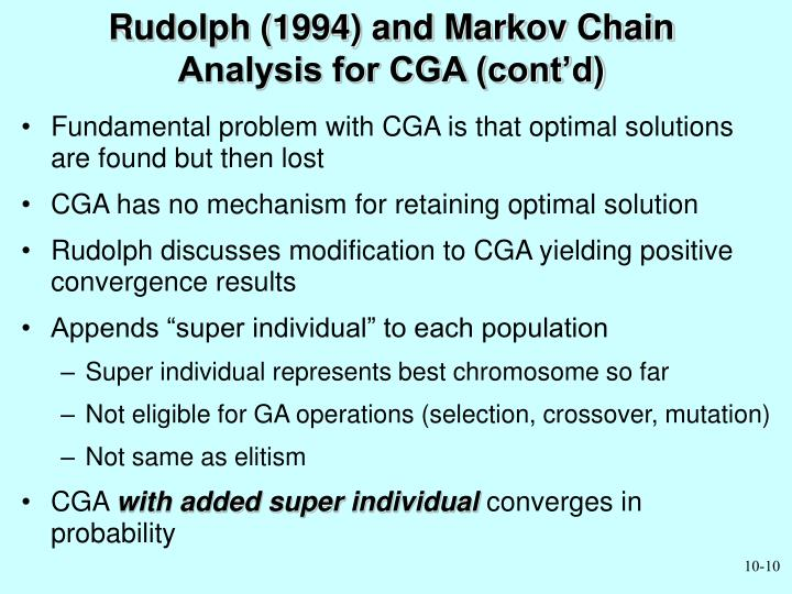 Rudolph (1994) and Markov Chain Analysis for CGA (cont'd)