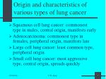 origin and characteristics of various types of lung cancer