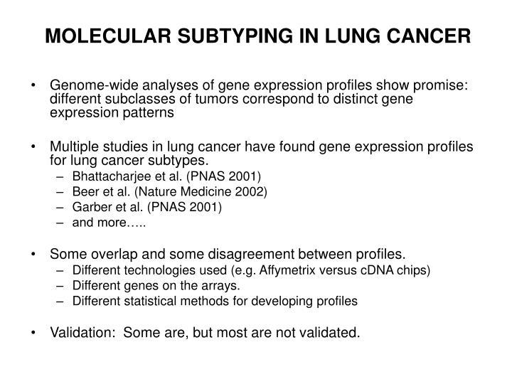 Molecular subtyping in lung cancer