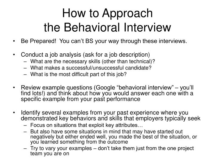 PPT The Behavioral Interview aka Hello Brain Are you in