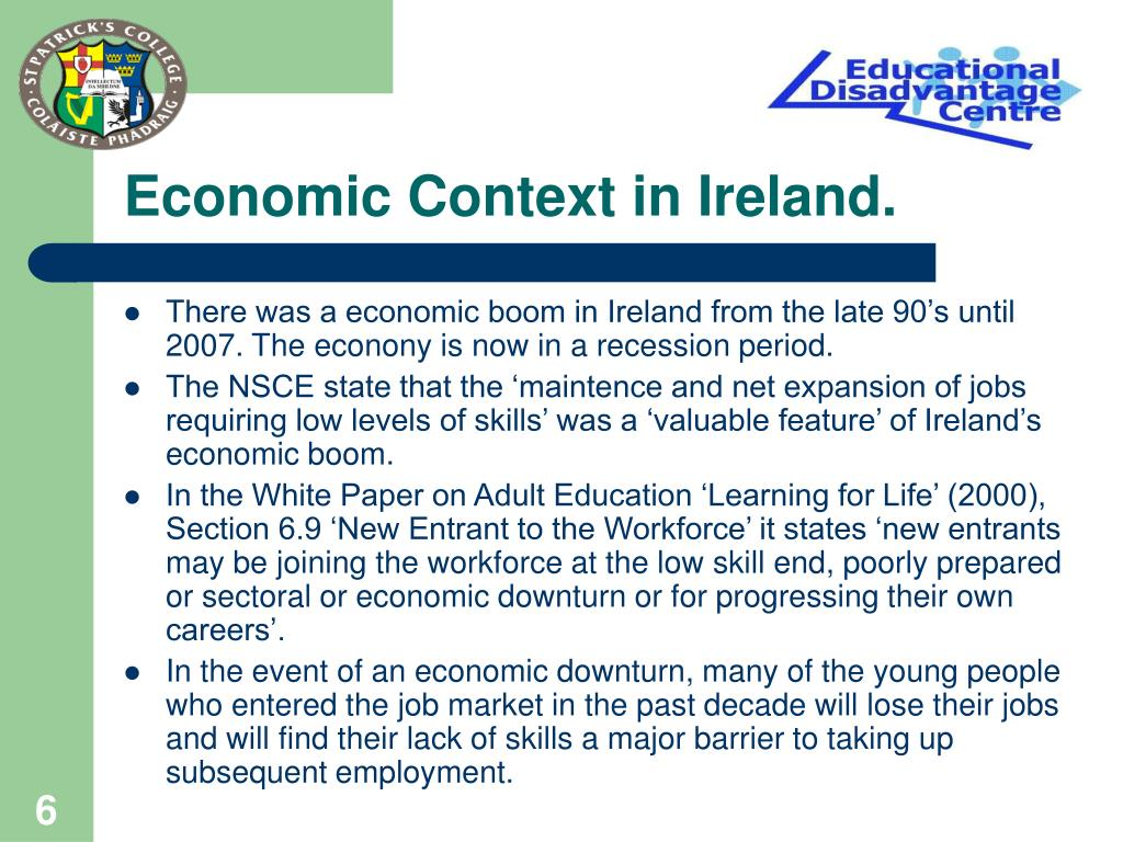 Economic Context in Ireland.