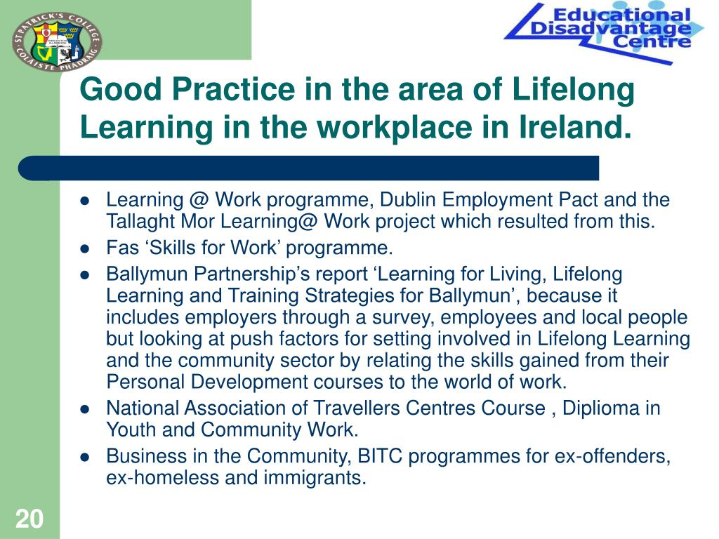 Good Practice in the area of Lifelong Learning in the workplace in Ireland.
