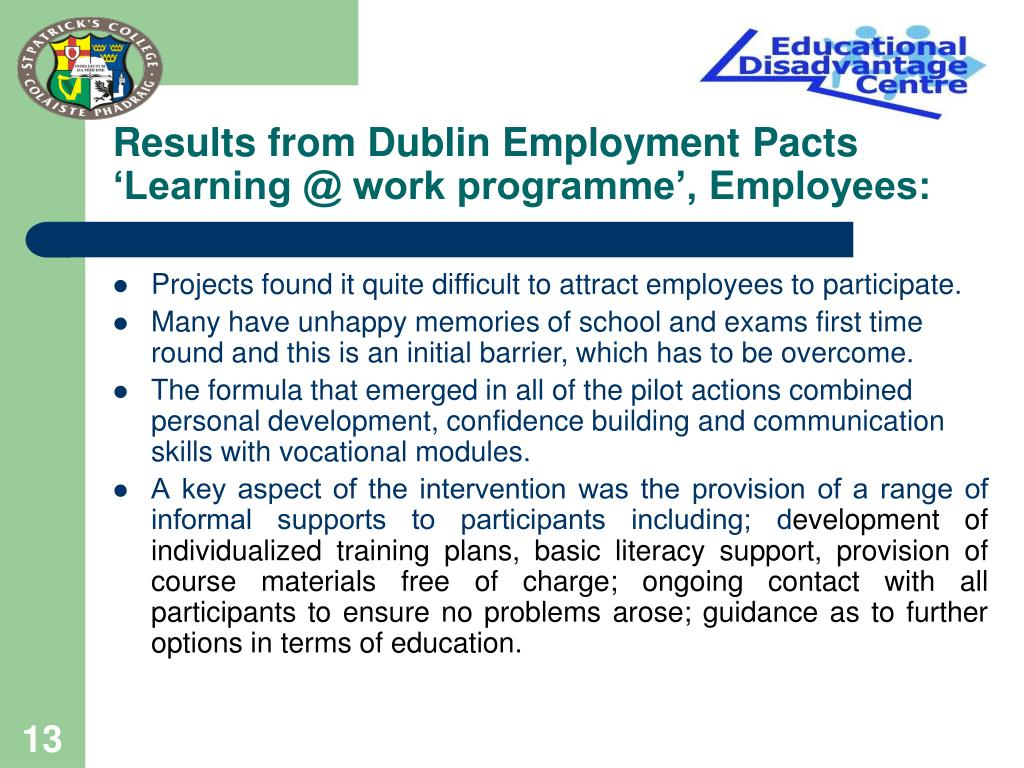 Results from Dublin Employment Pacts 'Learning @ work programme', Employees: