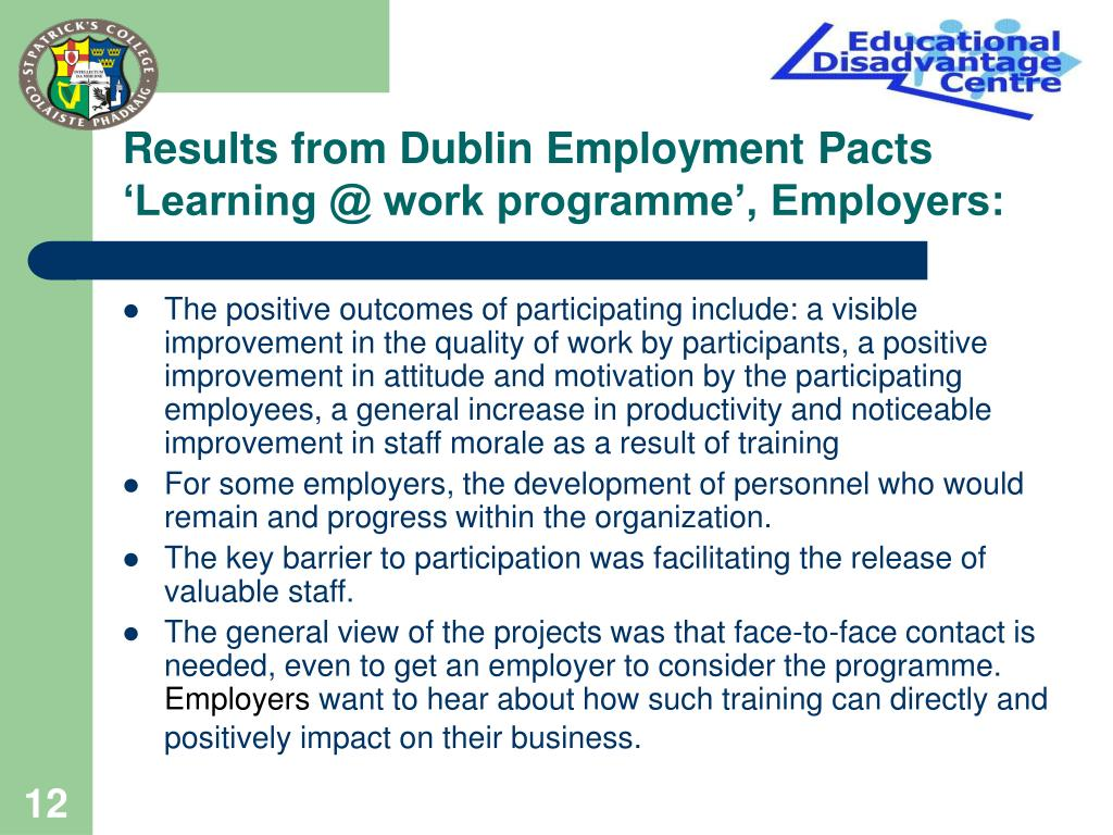Results from Dublin Employment Pacts 'Learning @ work programme', Employers:
