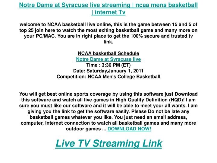 Notre Dame at Syracuse live streaming | ncaa mens basketball | internet Tv