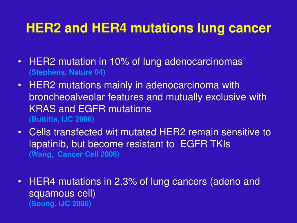 HER2 and HER4 mutations lung cancer