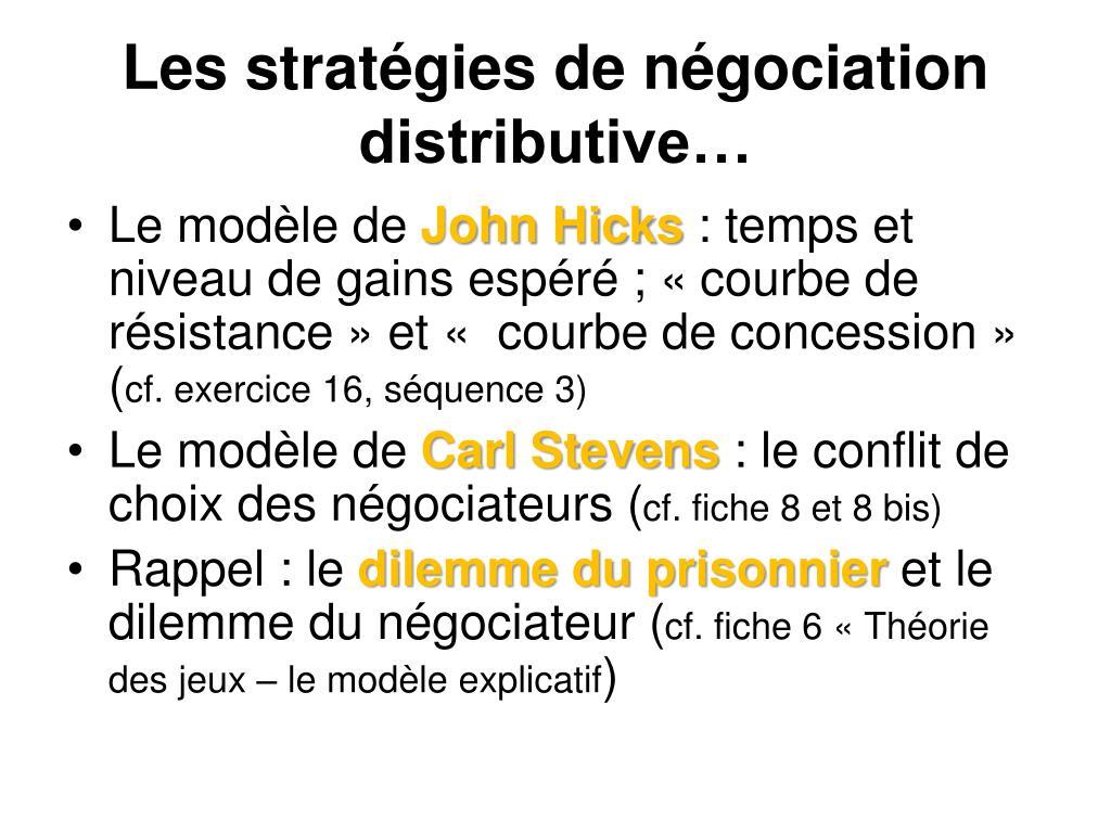 Les stratégies de négociation distributive…