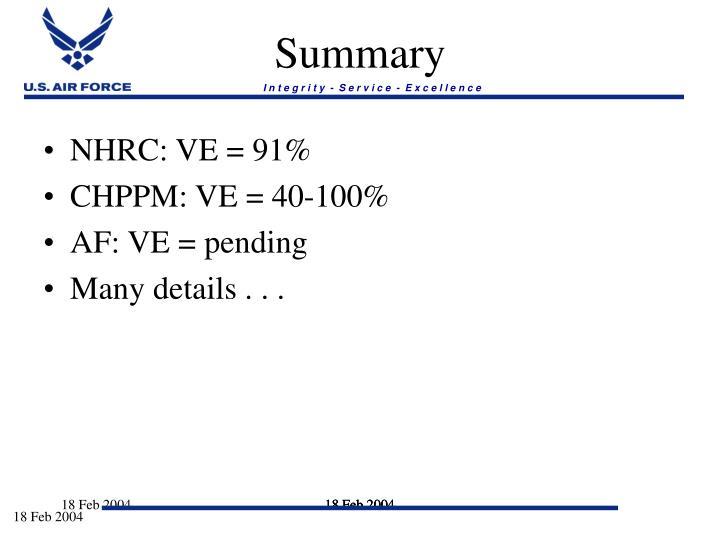 NHRC: VE = 91%