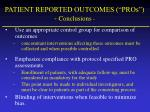 patient reported outcomes pros conclusions32