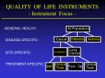 quality of life instruments instrument focus