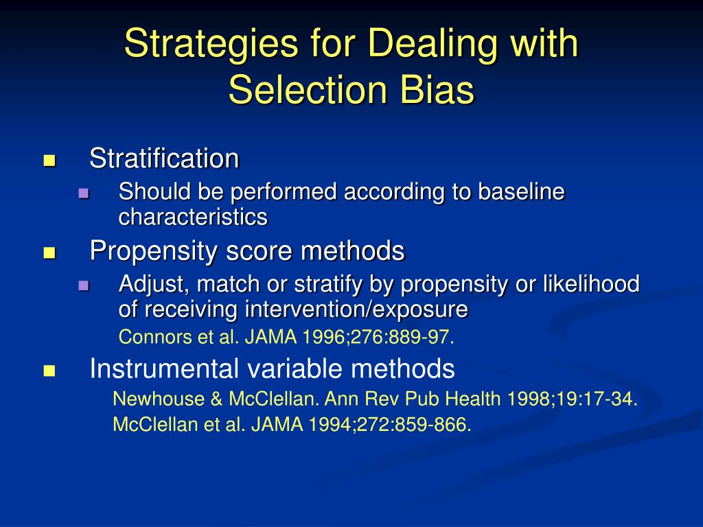 Strategies for Dealing with Selection Bias