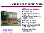 conditions in target areas