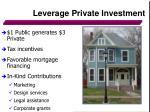 leverage private investment
