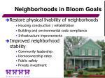 neighborhoods in bloom goals