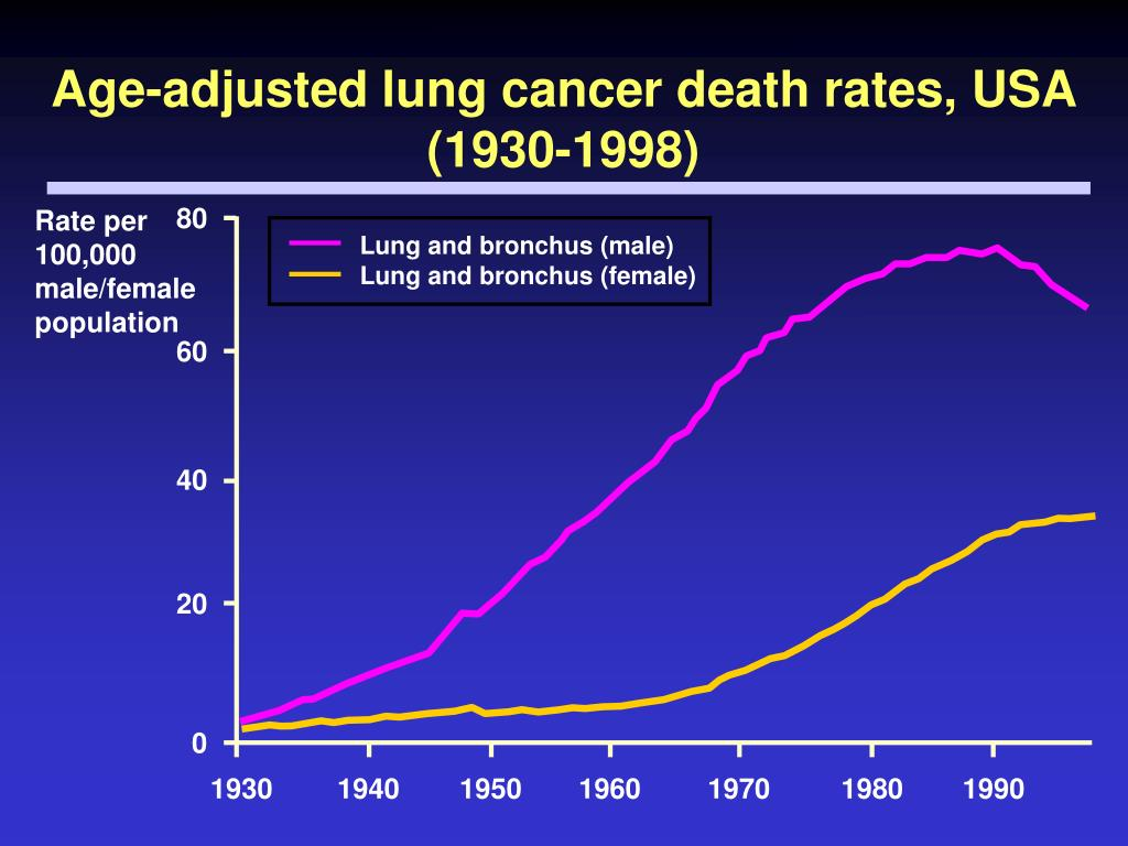 Age-adjusted lung cancer death rates, USA (1930-1998)