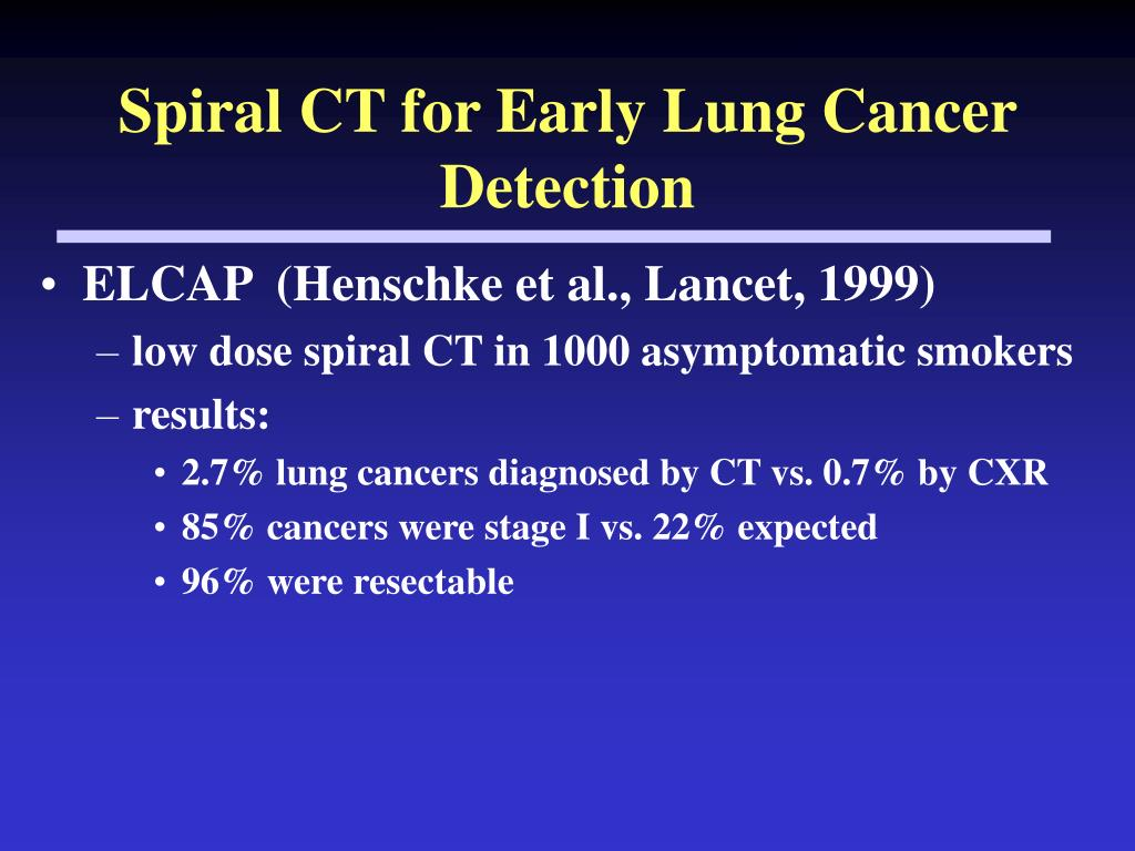 Spiral CT for Early Lung Cancer Detection