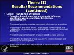 theme iii results recommendations continued