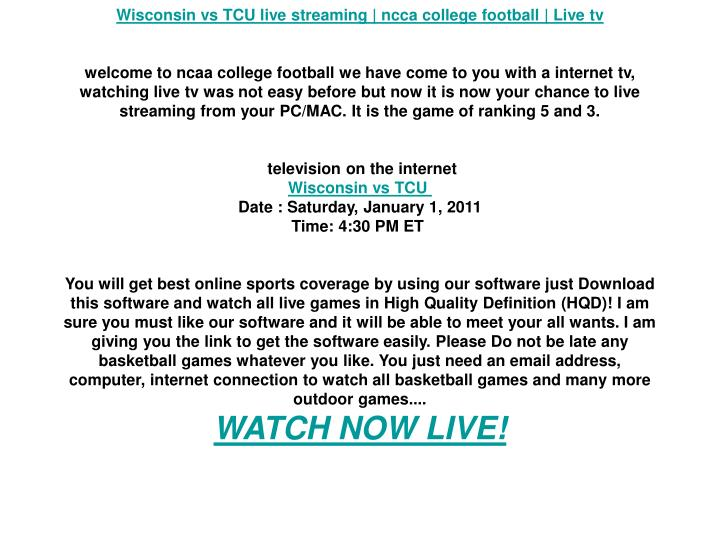 Wisconsin vs TCU live streaming | ncca college football | Live tv