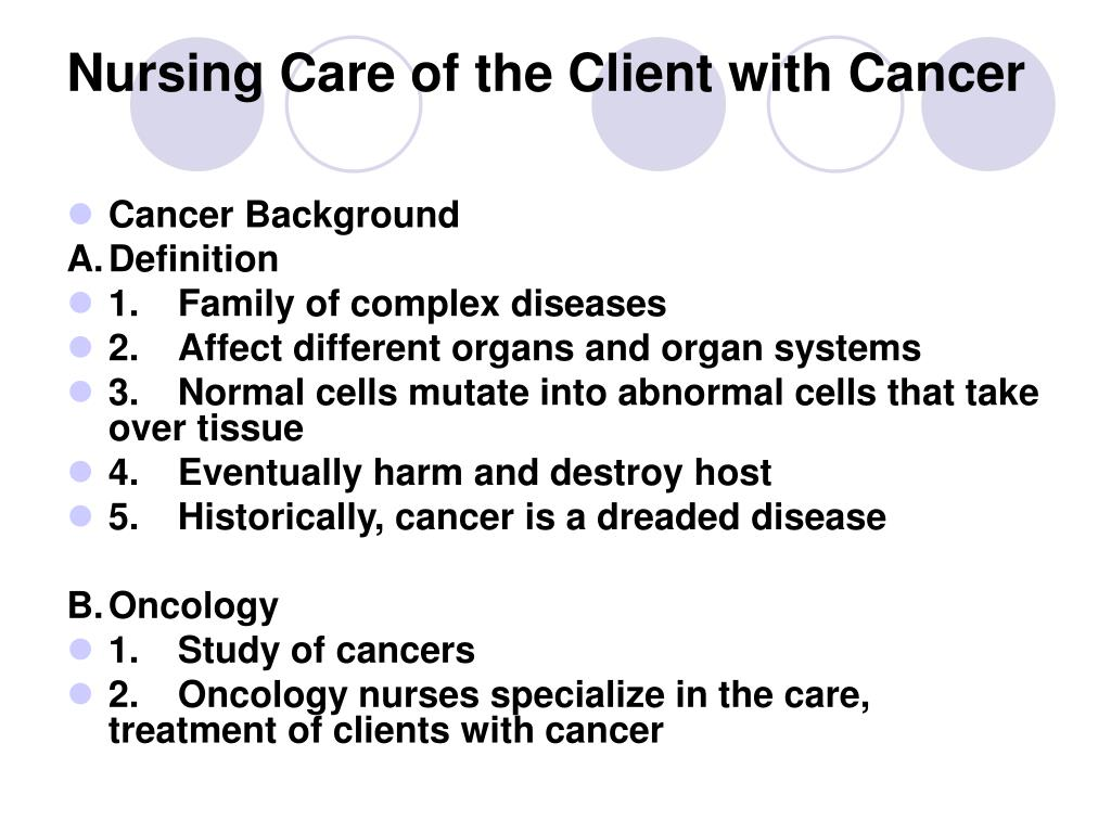 nursing care of the client with cancer l.