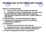 nursing care of the client with cancer26
