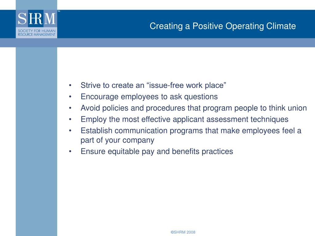 Creating a Positive Operating Climate