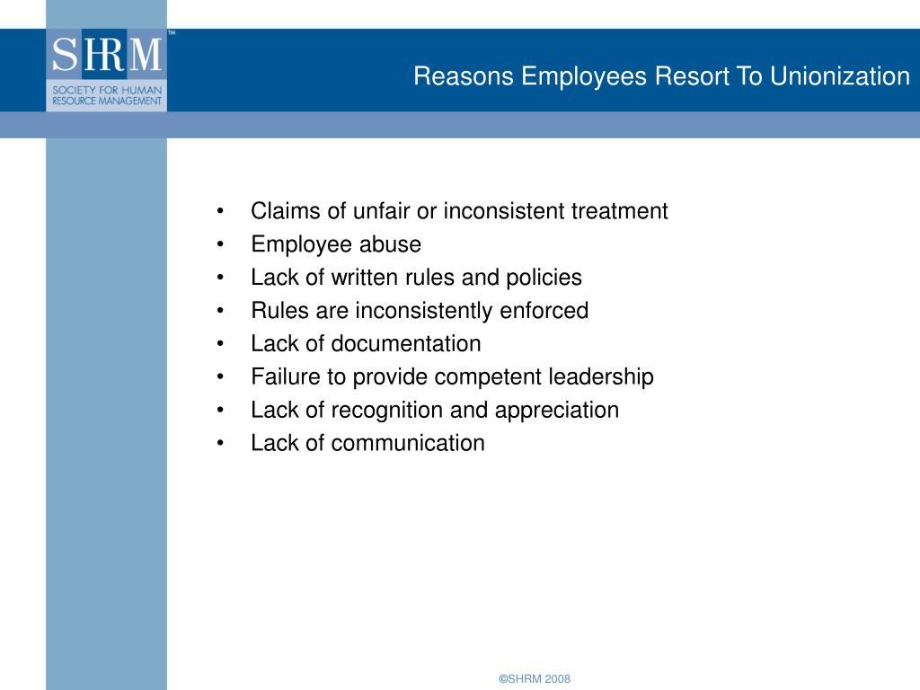Reasons Employees Resort To
