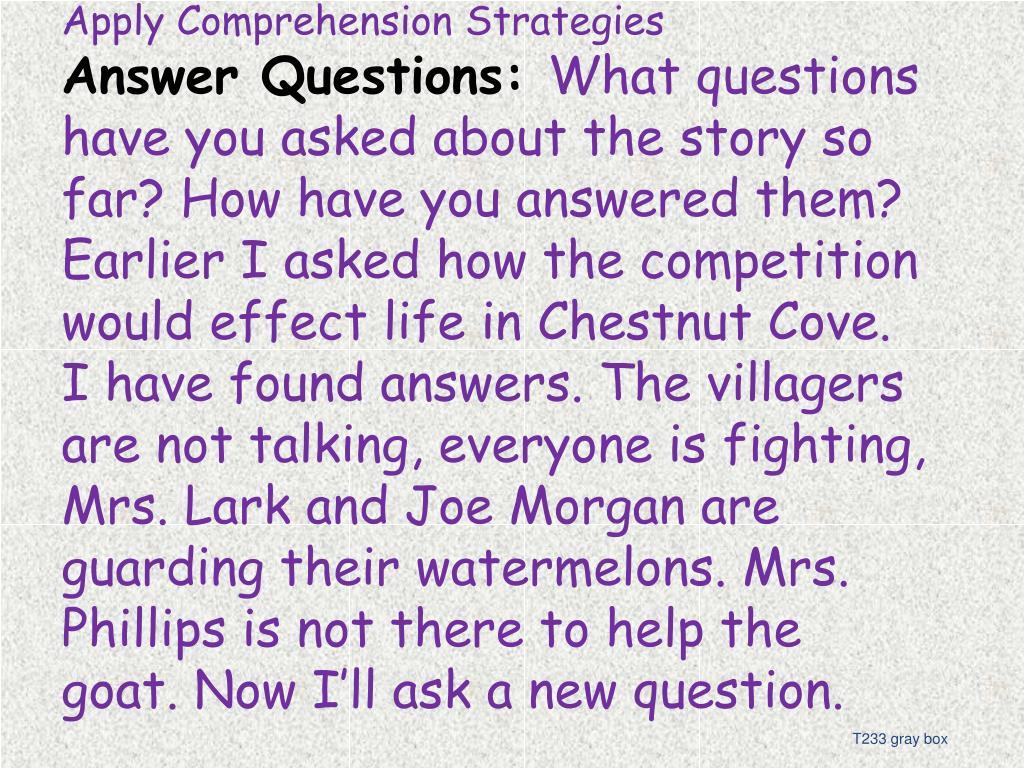 Apply Comprehension Strategies