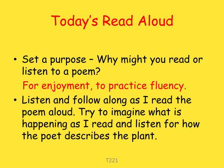 Today s read aloud