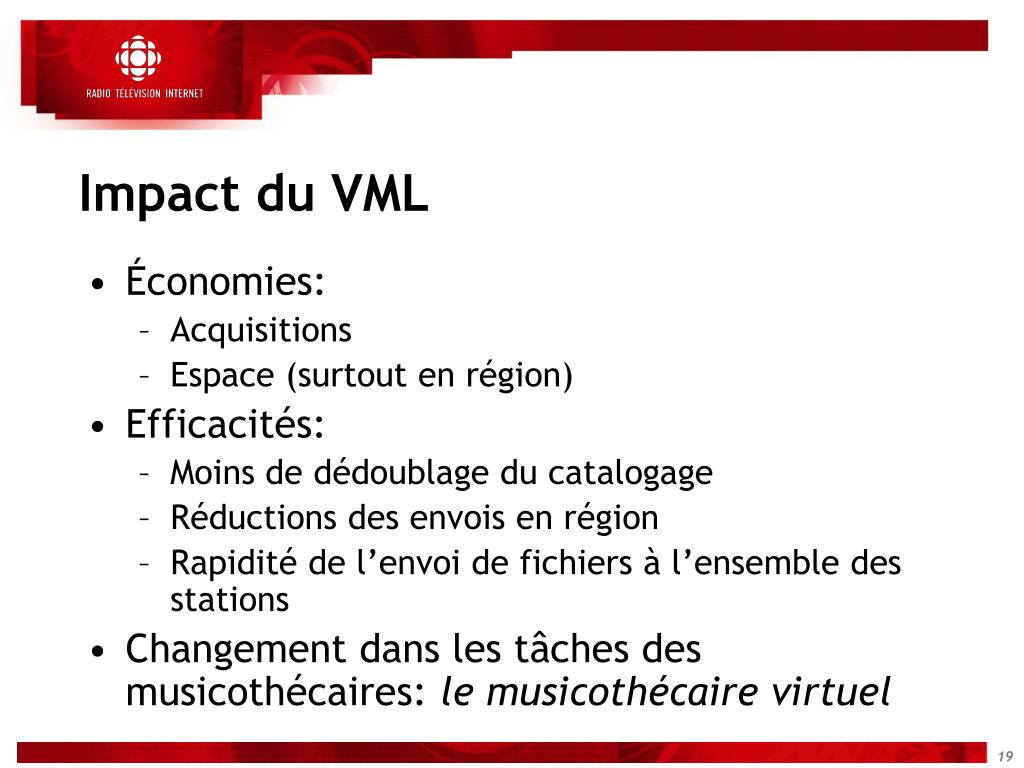 Impact du VML
