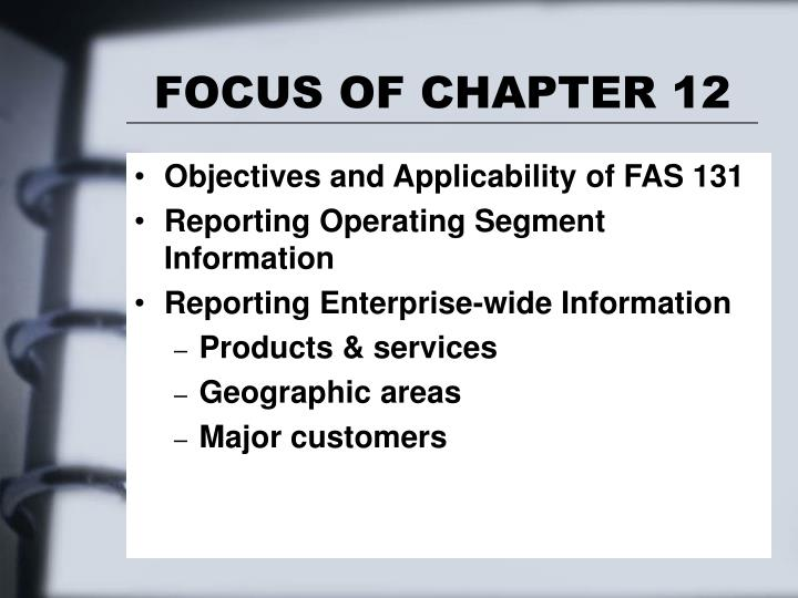 Focus of chapter 12