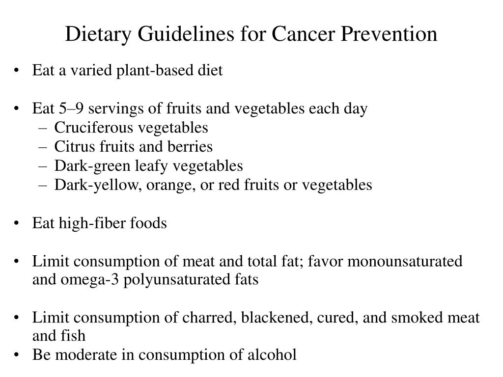 Dietary Guidelines for Cancer Prevention