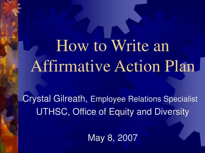 how to write an affirmative action plan n.