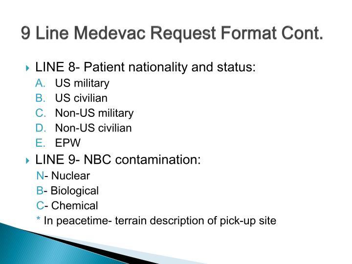 9 Line Medevac Request Format Cont