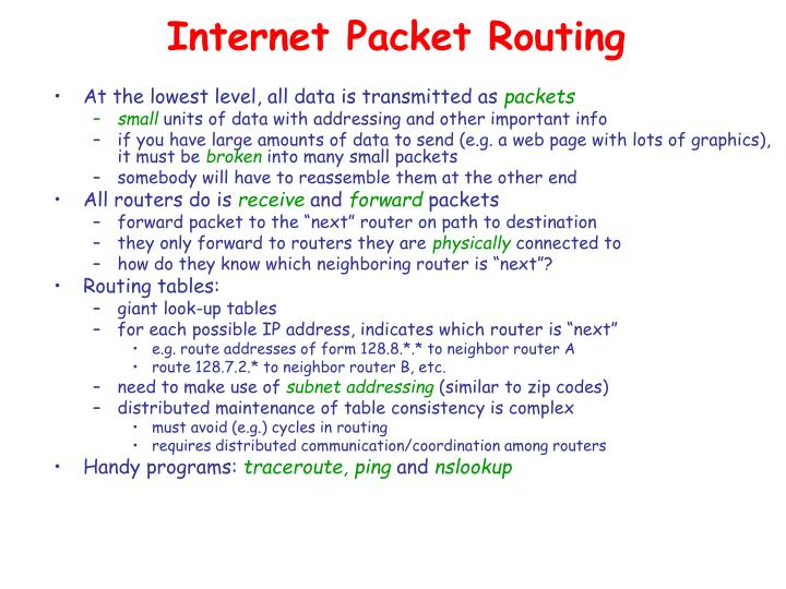 Internet Packet Routing