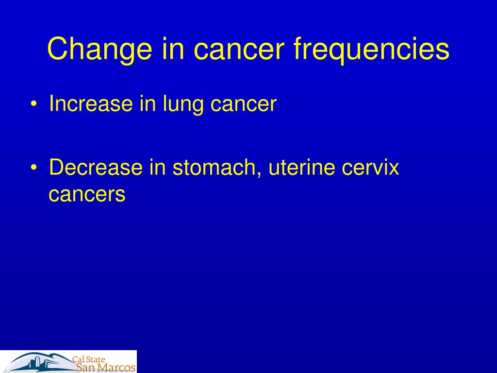 Change in cancer frequencies
