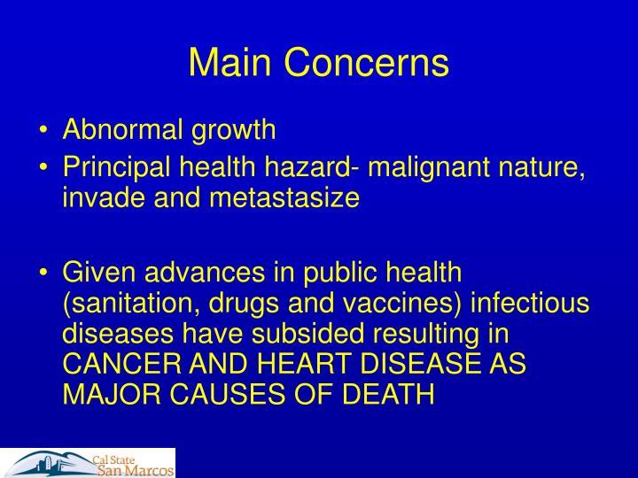 Main concerns