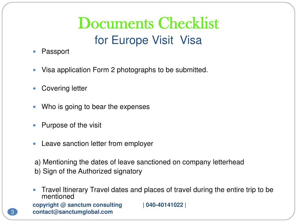 Ppt europe visit visa sanctum consulting powerpoint for Documents checklist passport