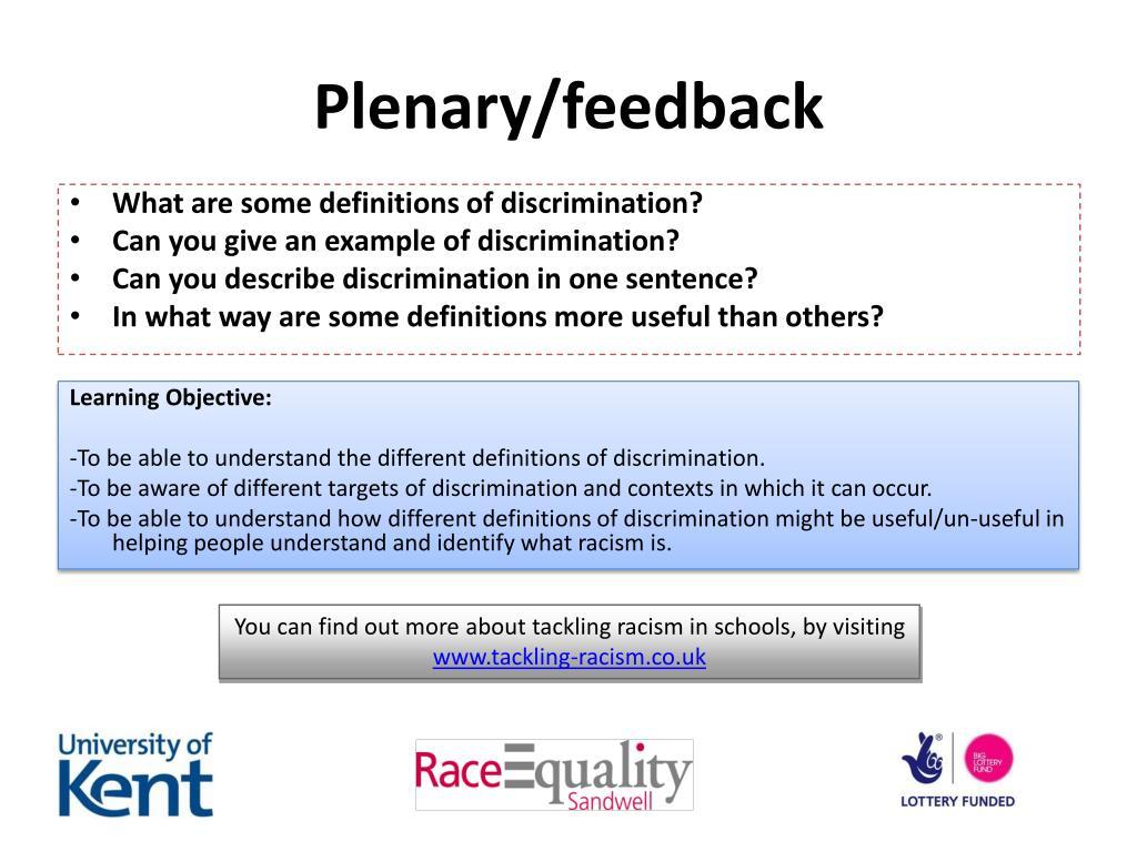 Plenary/feedback