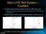 xbox live skill system trueskill