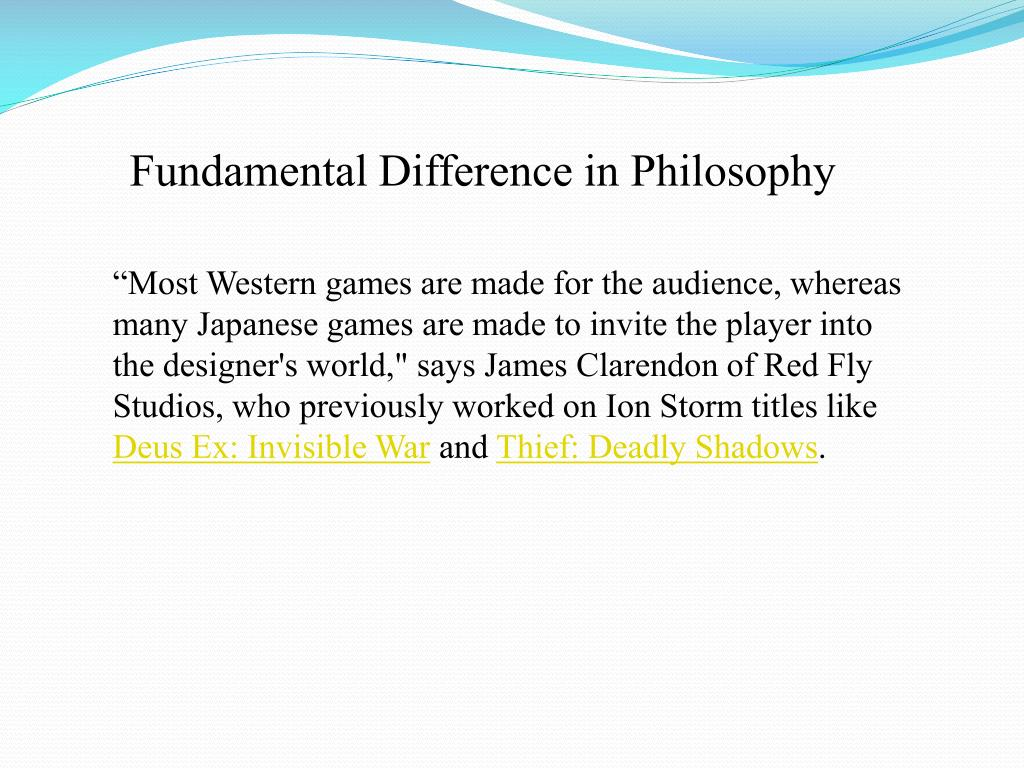 Fundamental Difference in Philosophy