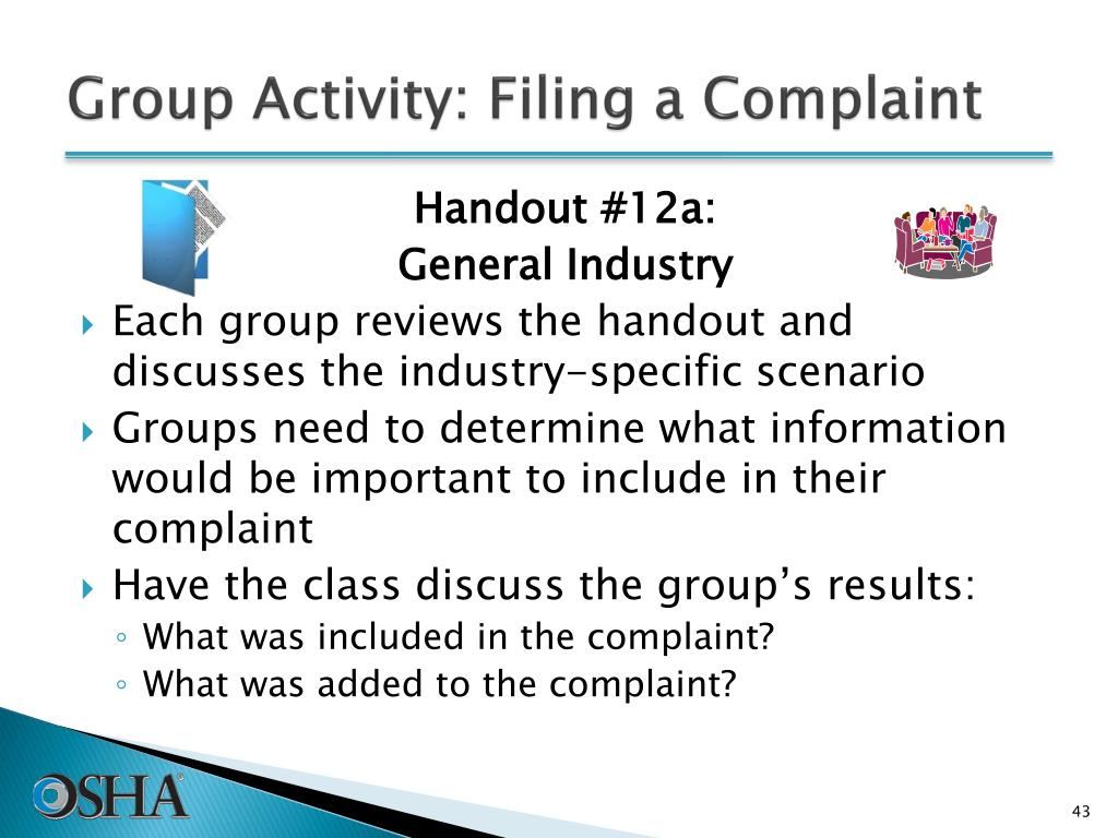 Group Activity: Filing a Complaint