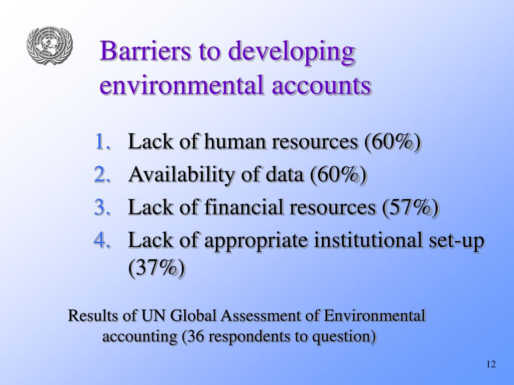 Barriers to developing environmental accounts