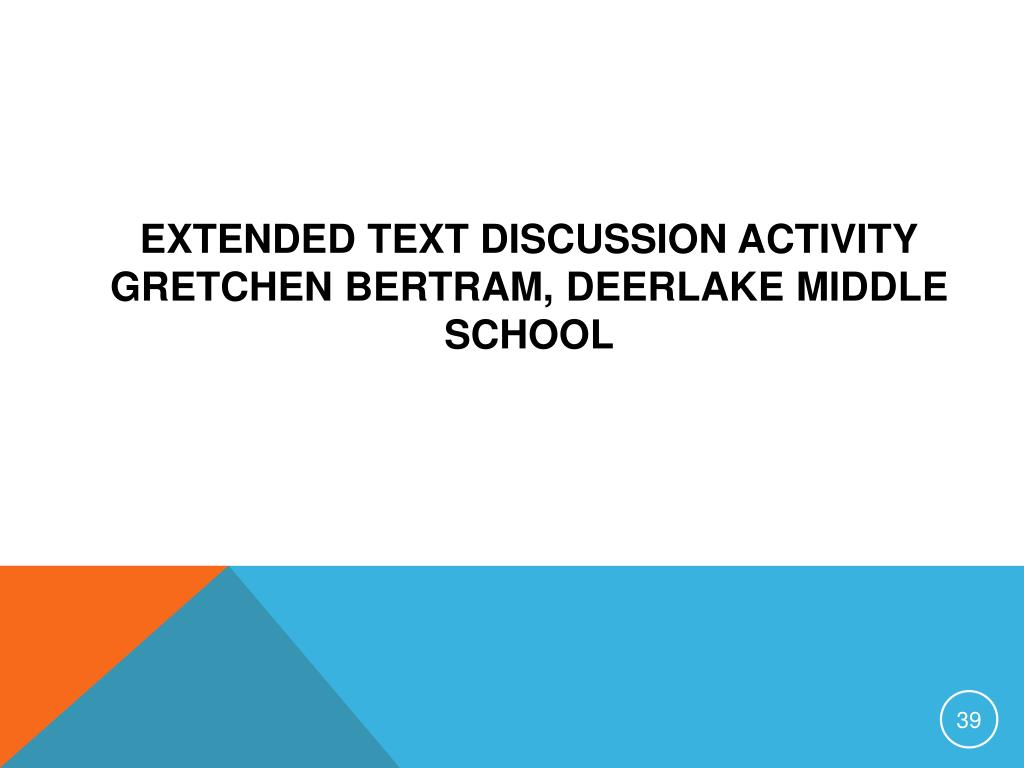 Extended Text Discussion Activity