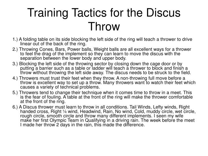 discus drills and throwing progressions Explore the technical progressions for shot put,  javelin and discus practical: explore drills and activities which help develop:  jumping & throwing abc's.