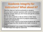 academic integrity for instructors what about it