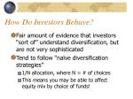 how do investors behave